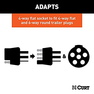 CURT 57604 Dual-Output 4-Way Flat Vehicle-Side to 6-Way Round Trailer Wiring Adapter: Automotive