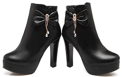 Easemax Women's Sexy Round Toe High Block Heeled Zip Up Platform Ankle High Boots With Bows Black 8K0ROM2WLd