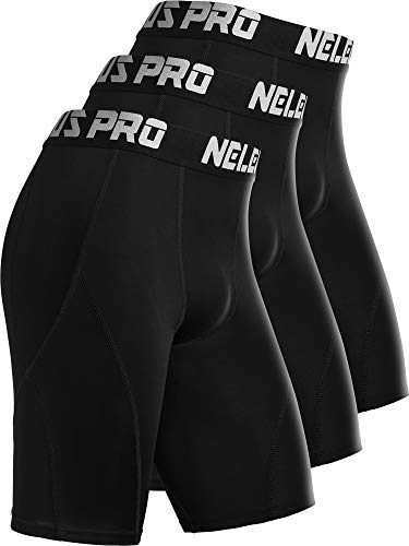 Neleus Men's 3 Pack Sport Running Compression Shorts,6012,Black,US S,EU M