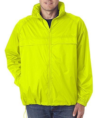 ULTRACLUB Adult Hooded Zip-Front Pack-Away Jacket>3XL Bright Yellow