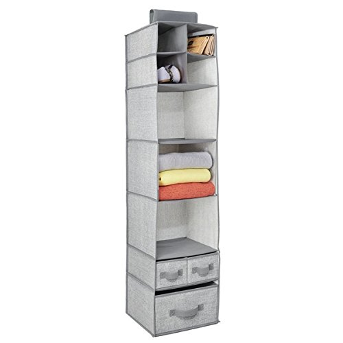 mDesign Fabric Hanging Closet Storage Organizer, for Clothing, Sweaters, Shoes, Accessories - 7 Shelves and 3 Drawers, Gray - Hanging Shoe Organizer Drawers