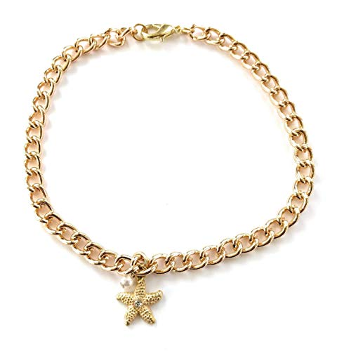 Ankle Bracelet Starfish Pearl Plus Gold 11 Inch