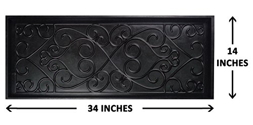All Weather Damask Rug (Iron Gate Sculpted Damask Heavy Duty Rubber Boot Tray Door Mat - 34 x 14 x 2 in. - Super Heavy Duty 100% Rubber Construction - Weighs a Hefty 96 Oz., Multi-Purpose All Weather Indoor or Outdoor Usage)