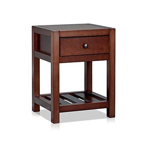 MUSEHOMEINC Classic Wood 2-Tier Nightstand with Wooden Slats Storage Shelf and Drawer for Bedroom/Heritage Collection Furniture/End Table/Side Table, Espresso Finish