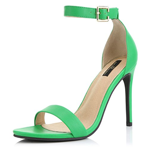DailyShoes Women's Open Toe Ankle Buckle Strap Platform Casual Pump Heel Sandal Shoes, Green PU, 12 B(M) US - Buckle Strapped Platform