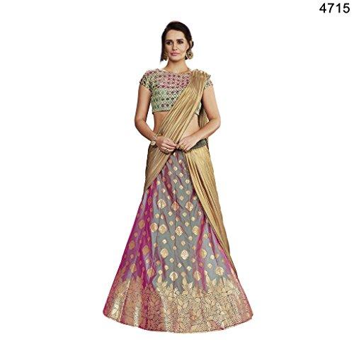 Ethnicwear Stylish Green Purple Colour Two Tone Silk Laser Cut Embroidery Work Designer Chaniya Choli Dress