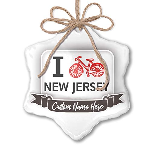 NEONBLOND Create Your Ornament I Love Cycling State New Jersey Personalized