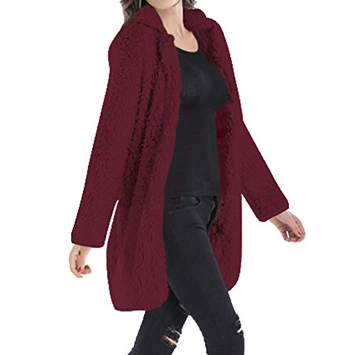Long Loose Outwear Coat Knitted Yying Donna Solid Cardigan Vino Rosso Sleeve Warm q055IgwT