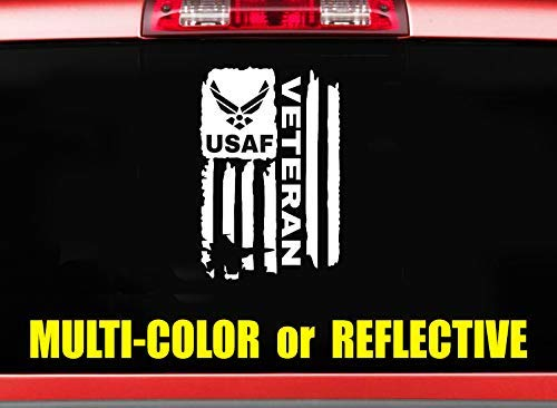 5-12 Distressed Flag USAF United States Air Force Flag decal sticker Veteran for car pickup truck suv multi color or reflective