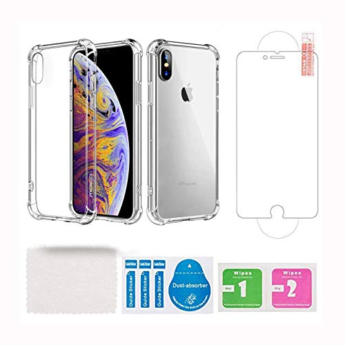iPhone6/6s case,Bumper Premium Transparent Clear case 2 in1 Glass Screen Protector Anti-Yellow,Shock Absorption 6S Phone case