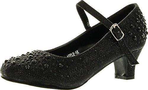 (JJF Shoes Apple Kids Black Sparkling Mary Jane Rhinestone Glitter Formal Dress Low Heel Pumps-1 )