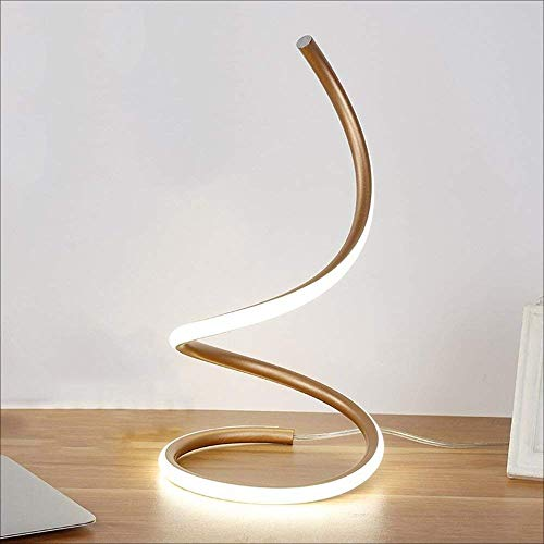 - Vampsky Modern 16W LED Desk Lamp Acrylic Bedroom Bedside Lamp Creative Spiral LED Table Lamp Eye Work Study Light Aluminum Decoration Bedside Table Light (Color : Gold)