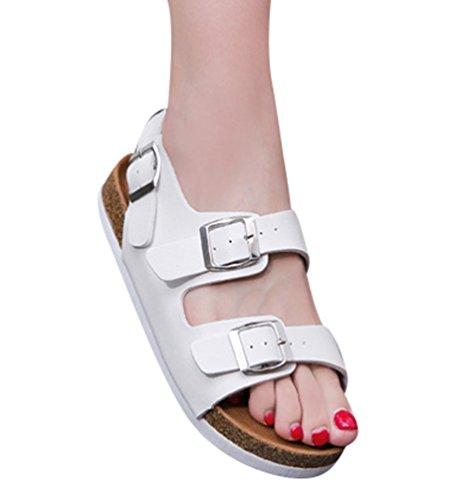 ZKOO Sandalias Mujeres Romanas Vendaje Zapatos de Hebilla Punta Abierta Sandalias Planas Zapatos de Playa Blanco X6WtJ