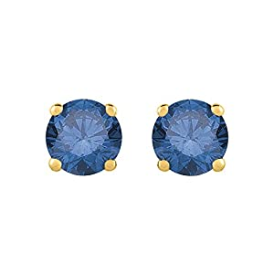 3/4 ct. Blue - I1 Round Brilliant Cut Diamond Earring Studs in 14K Yellow Gold