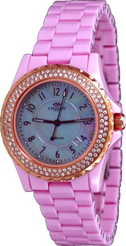 (Oniss #ON6200-LRG Women's Mid Size Crystal Accented Pearl MOP Dial Pink Ceramic Watch)