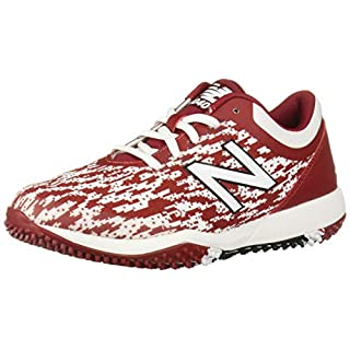 New Balance Men's 4040 V5 Turf Baseball Shoe, Maroon/White, 8.5 W US