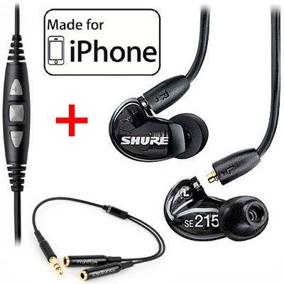 Shure SE215-K Earphones and CBL-M+-K-EFS Music Phone Cable with Remote + Mic ()