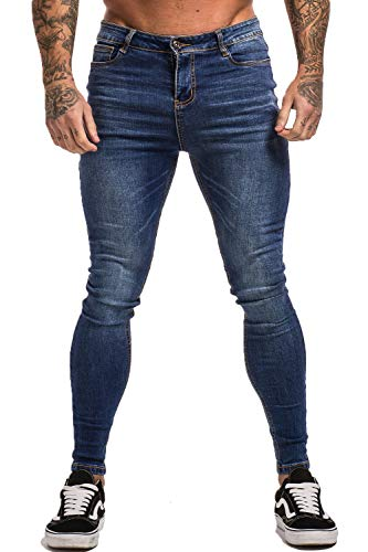 GINGTTO Men's Ripped Repaired Skinny Stretch Jeans 30 Dark Blue Denim