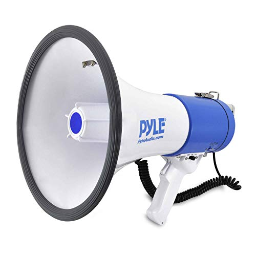 Pyle Megaphone Speaker PA Bullhorn with Built-in Siren - 50 Watts Adjustable Volume Control and 1200 Yard Range - Ideal for Football, Baseball, Basketball Cheerleading Fans & Coaches or for Safety Drills (PMP50)]()