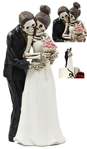 Ebros Day Of The Dead DOD Skeleton Bride And Groom Posing For Wedding Photo Cake Topper Figurine Love Never Dies Wedding Ceremony Skeleton Lovers Decor]()