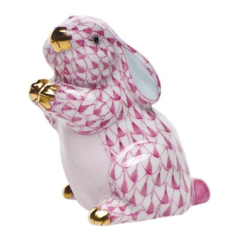 Herend Pudgy Bunny Rabbit Porcelain Figurine Raspberry Fishnet