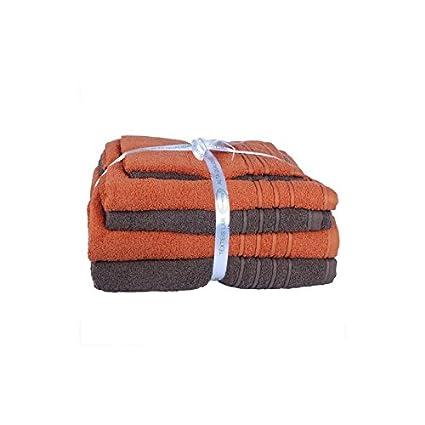 Hogar y Mas Basic - 6 Toallas de baño, 3 Naranja y 3 Marrón