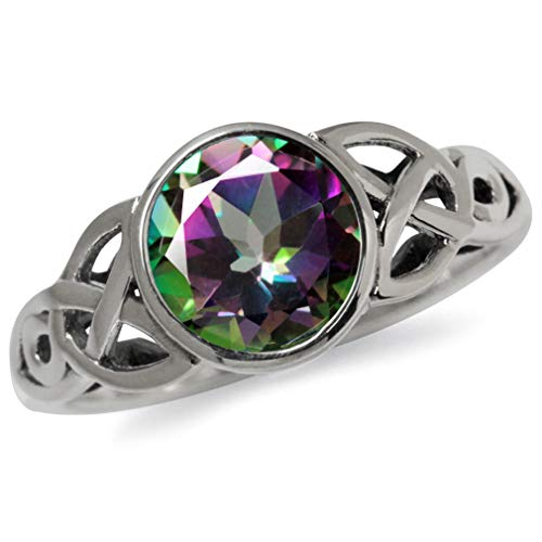 2.16ct. Mystic Fire Topaz 925 Sterling Silver Triquetra Celtic Knot Solitaire Ring Size 7