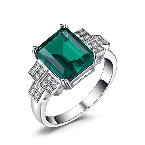 Jewelrypalace 2.7ct Simulated Nano Russian Emerald Statement Ring 925 Sterling Silver Size -