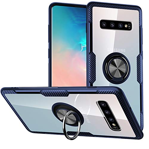 Galaxy S10 Plus Case,SQMCase Crystal Clear Carbon Fiber Design Armor Protective Case with 360 Degree Rotation Finger Ring Grip Holder Kickstand [Work with Magnetic Car Mount] for Galaxy S10 Plus,Blue