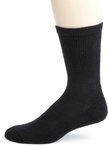 Cotton Black Crew Sport Socks - Champion Men's Crew Socks Black, 10-13 / Shoe: 6-12 (Pack of 6)