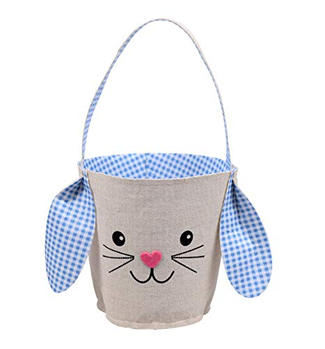 Easter Basket with Bunny Ears and Handle for Toddler Boys or Girls (Blue)