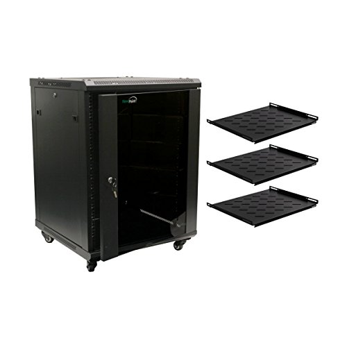 NavePoint 15U Wall Mount Server Data Cabinet 24 Inch Depth Glass Door Lock Casters and Shelves