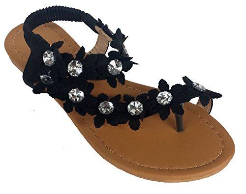 J.J. Elegant Womens Fashion Hawaiian Flowers Gladiator Flat Sandals black