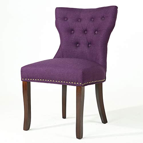 Cheap DAGONHIL Fabric Dining/Accent Chairs (Set of 2) with Brown Solid Wooden Legs,Nailed Trim, (Purple)