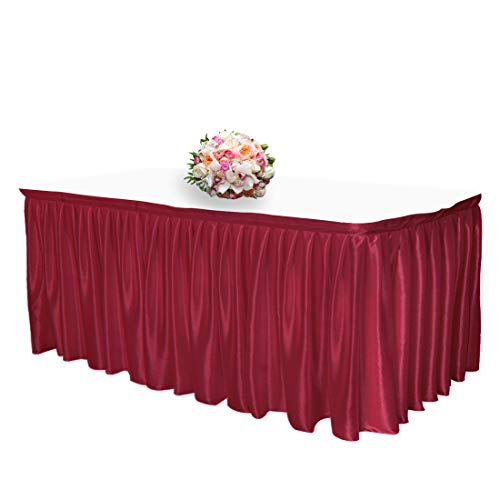 JINSEY 14 ft Shimmer Polyester Table Skirt for Rectangle Tables Ruffle Table Cloth for Wedding, Party, Hotel - Dark Red (Burgundy Skirt Table)