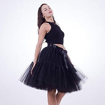 NVDKHXG Enagua 5 Capas 60 cm Tutu Falda de Tul Midi Vintage Faldas ...