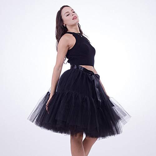 Black WHFDBZQ Petticoat 5 Layers 60Cm Tutu Tulle Skirt Vintage Midi Pleated Skirts Womens Lolita Bridesmaid Wedding