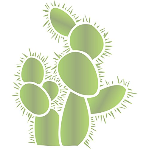 "Terra Cotta Pear - Prickly Pear Cactus Stencil - (size 12""w x 14""h) Reusable Wall Stencils for Painting - Best Quality Cactus Wall Art Ideas - Use on Walls, Floors, Fabrics, Glass, Wood, Terracotta, and More…"