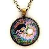 "Raven Pendant Crow Necklace Moon Bird Silhouette Moonlit Swirl Autumn Tree Branches Handmade Boho Jewelry 24"" Chain"