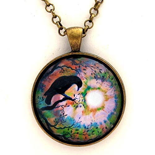 Raven Pendant Crow Necklace Moon Bird Silhouette Moonlit Swirl Autumn Tree Branches Handmade Boho Jewelry 24