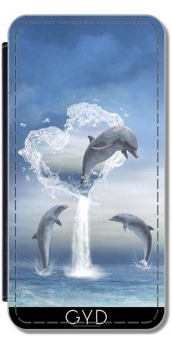 Leder Flip Case Tasche Hülle für Apple iPhone 5C - Das Herz Der Delfine by Gatterwe