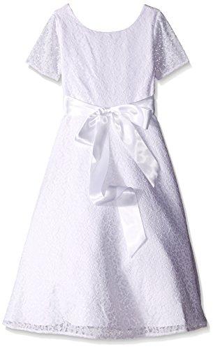 Lavender Slim Girls Short Sleeve with Satin Ribbon and A Full Skirt Dress, White, 8