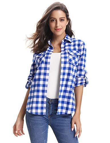 Preppy Blue Plaid - Abollria Women's Roll up Long Sleeve Boyfriend Button Down Plaid Flannel Shirt (Blue White,XXL