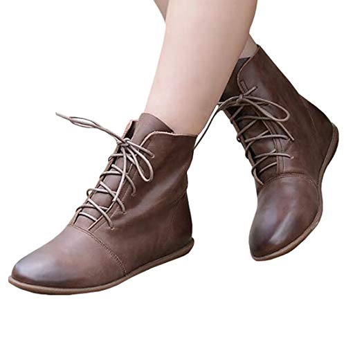 Outgobuy Women's Lace Up Ankle Boots Low Heel Faux Leather Flat Booties Shoes Brown