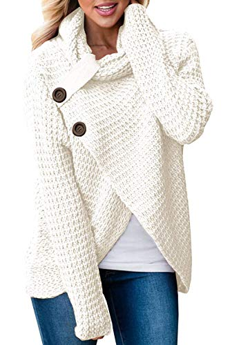 Juliarode Womens Cowl Neck Chunky Cable Knit Hooded Wrap Cardigan Pullover Sweater Coats with Button WhiteMedium