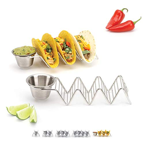 Cup Holder Dimensions - 2lbDepot Taco Holder Stand with Salsa Cup - Chrome Finish - Premium 18/8 Stainless Steel - Holds 3 Hard Soft Tacos - Five Styles Available - Set of 2 Racks