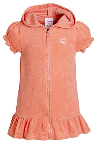 Beach Coverups for Girls Swimsuit Cover up Cotton Terry Hood Swim Robe Swimwear - Coral (Size 10/12)