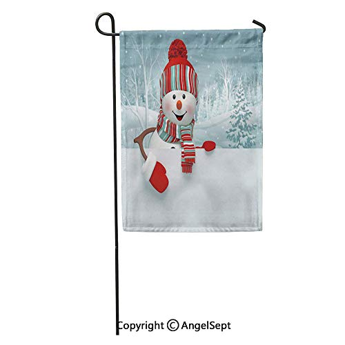 Durable Creative Design 18x27in Garden Flag Red 3D Cartoon Happy Snowman Holding Blank Winter Christmas Silver Home Yard House Decor Outdoor Stand