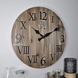 FirsTime & Co. Rustic Barnwood Wall Clock, 24, Weathered Barn Wood