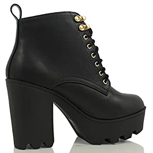 Soda Women's Climate Faux Leather Lace-Up Thick Platform Chunky Heel Lug Ankle Bootie, Black, 10 M US